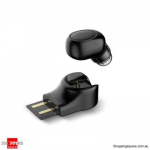 Invisible Mini Wireless Bluetooth Earphone Portable Earbud with Magnetic USB Charger-Black