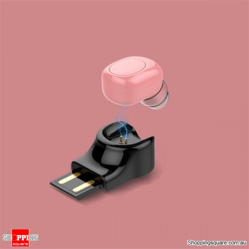 Invisible Mini Wireless Bluetooth Earphone Portable Earbud with Magnetic USB Charger-Rose Gold