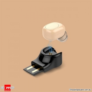 Invisible Mini Wireless Bluetooth Earphone Portable Earbud with Magnetic USB Charger-Gold