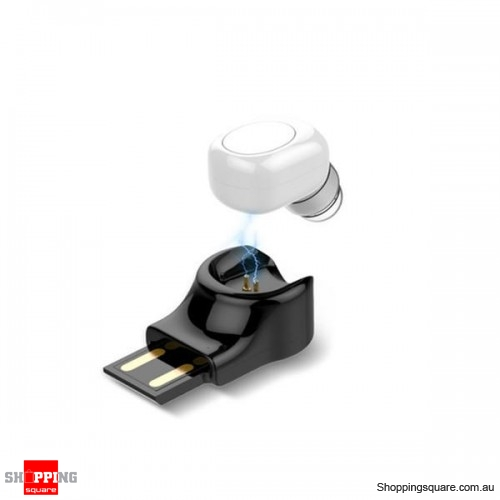 Invisible Mini Wireless Bluetooth Earphone Portable Earbud with Magnetic USB Charger-White