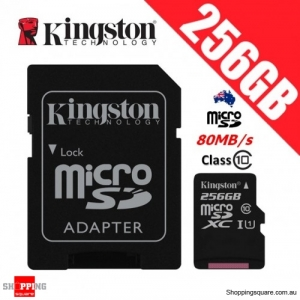 Kingston Canvas Select 256GB micro SD SDXC Memory Card 80MB/s Full HD 1080P + Adapter