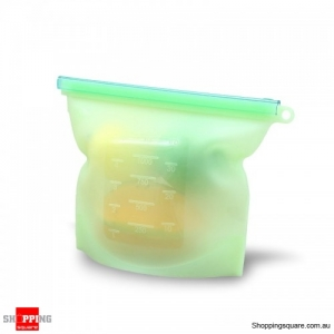 Reusable 1000ml Silicone Food Fresh Bags Storage Sealed Containers Eco-friendly - Green