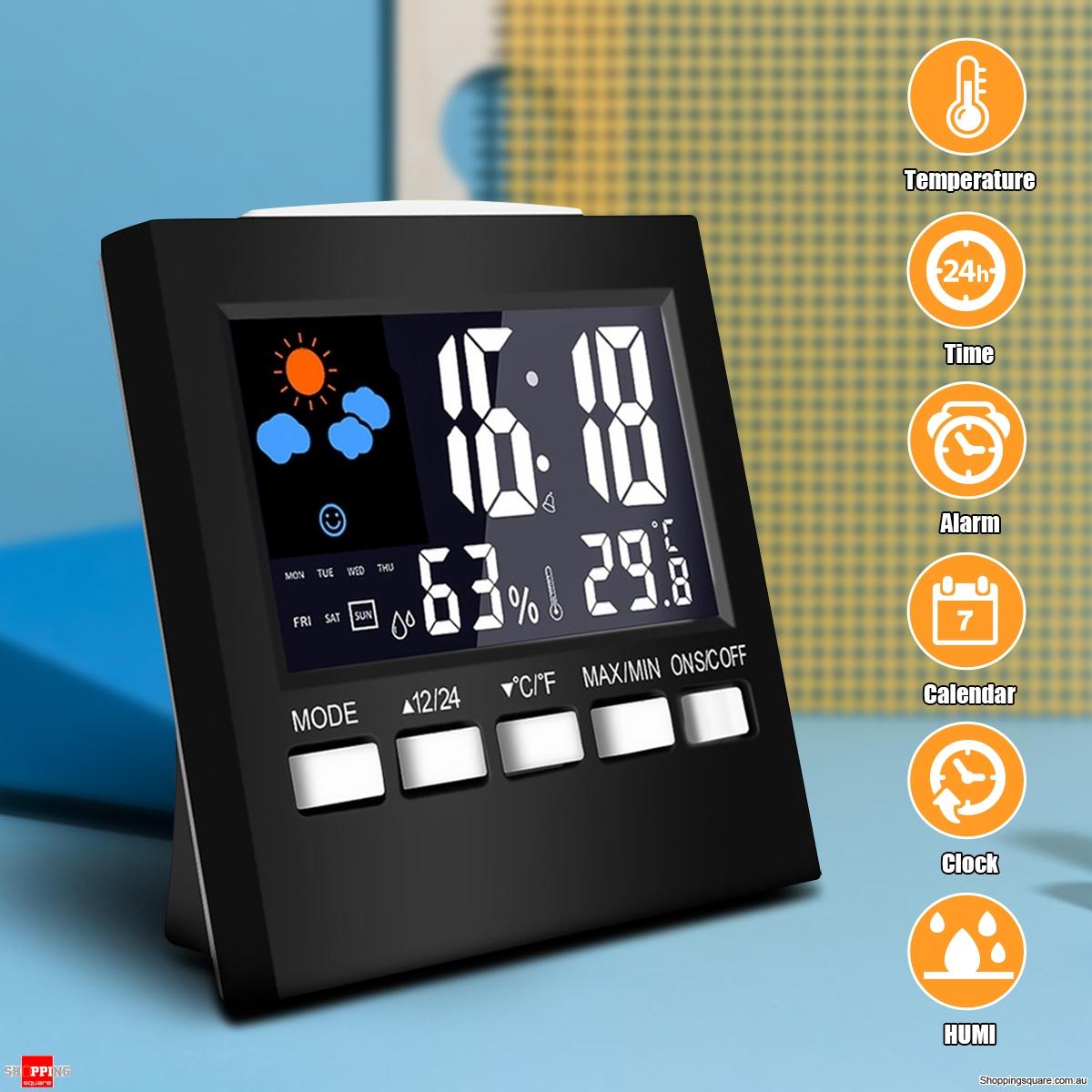 LCD Digital Thermometer Hygrometer Temperature Humidity Meter Alarm Desk Clock