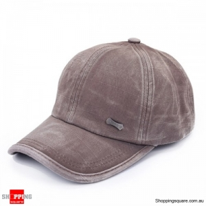 Unisex Adjustable Washed Cotton Blend baseball Cap Sports Hat Outdoor - Brown