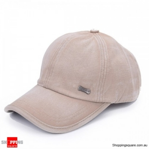 Unisex Adjustable Washed Cotton Blend baseball Cap Sports Hat Outdoor - Beige