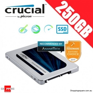 "Crucial MX500 250GB SATA 2.5"" 7mm (with 9.5mm adapter) Internal SSD Solid State Drive (CT250MX500SSD1)"