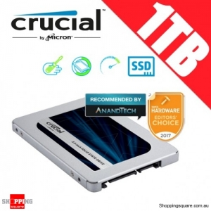"Crucial MX500 1TB SATA 2.5"" 7mm (with 9.5mm adapter) Internal SSD Solid State Drive (CT1000MX500SSD1)"