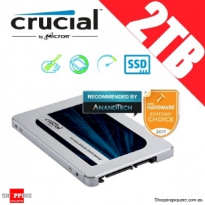 "Crucial MX500 2TB SATA 2.5"" 7mm (with 9.5mm adapter) Internal SSD Solid State Drive (CT2000MX500SSD1)"