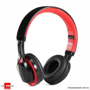 Adjustable Foldable 3.5mm Stereo Wired Earphone Headset With Mic - Black & Red
