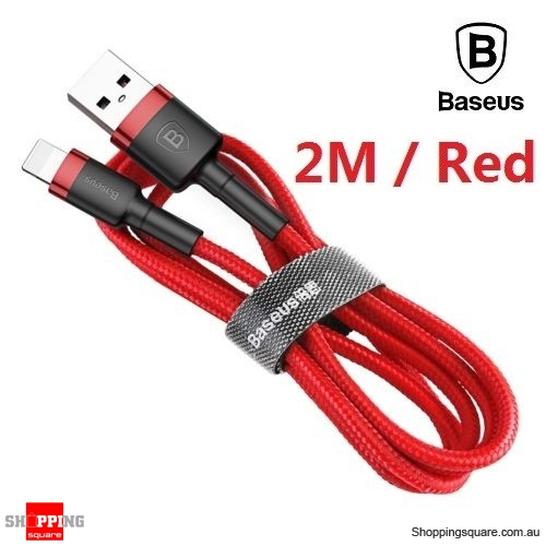 Baseus Premium 2M USB Data Fast Charging cable for iPhone XR XS Max X 8 7 SE Red Colour