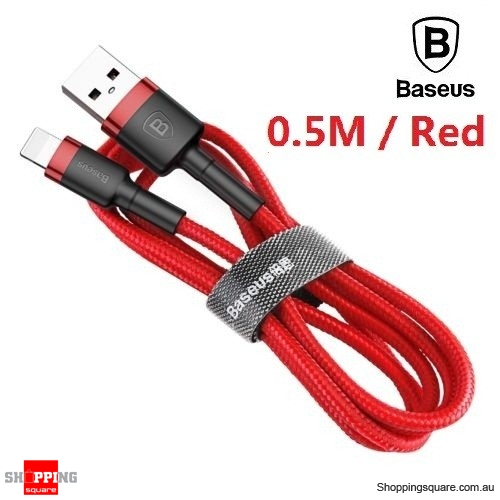 Baseus Premium 0.5M USB Data Fast Charging cable for iPhone XR XS Max X 8 7 SE Red Colour