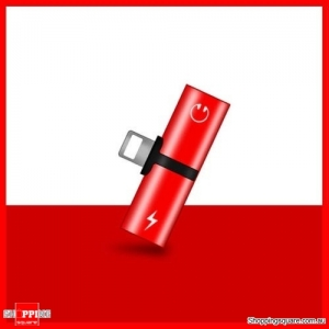 Dual Lightning Audio Headphone Adapter Charger Splitter for iPhone XR XS Max X 8 7 Plus Red Colour