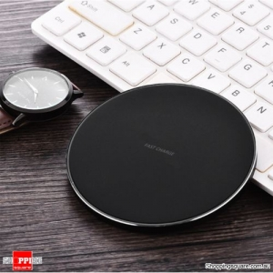Qi Wireless Charger FAST Charging Pad Receiver For iPhone XS XR 8 Samsung Note 9 S9 Black Colour