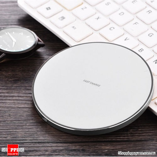 Qi Wireless Charger FAST Charging Pad Receiver For iPhone XS XR 8 Samsung S9 S8 White Colour