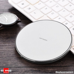 Qi Wireless Charger FAST Charging Pad Receiver For iPhone XS XR 8 Samsung S10 S9 White Colour