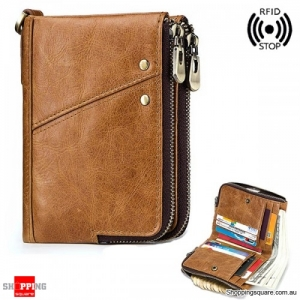 RFID Antimagnetic Wallet Genuine Leather 12 Card Slots Vintage Double Zipper Coin Bag-Khaki
