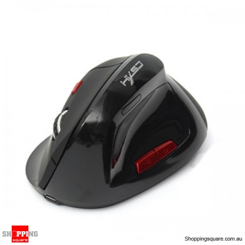 Wireless 2.4GHz 800/1600/2400DPI 6-Button Gaming Mouse Ergonomic Vertical Mouse - Black
