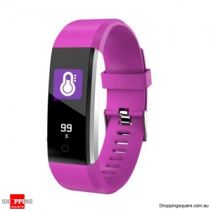 ID115 PLUS 2 Color UI Display Smart Watch Blood Pressure Oxygen Monitor Sport Tracker Watch -Purple