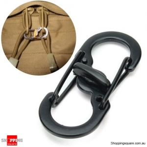 EDC S Shape Plastic Steel Anti Theft Carabiner Keychain Hook Clip Tool - Black