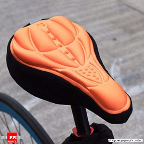 Outdoor Cycling 3D Bicycle Silicone Gel Pad Seat Saddle Cover Soft Cushion-Orange