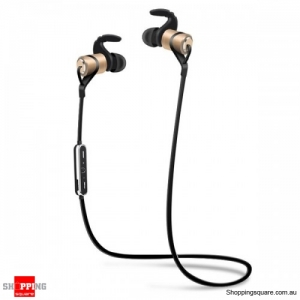 Waterproof Magnetic In-ear Sport Absorption Voice Prompt Bluetooth V4.1 Earphone - Gold