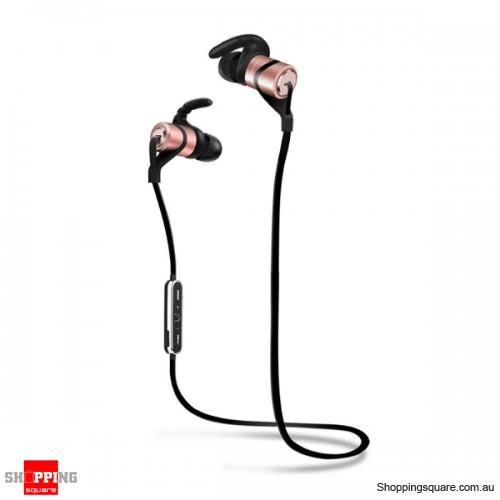 Waterproof Magnetic In-ear Sport Absorption Voice Prompt Bluetooth V4.1 Earphone - Pink