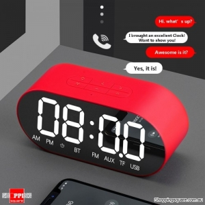 Portable Alarm Clock Wireless Speaker Music Player FM Radio Aux Clock - Red