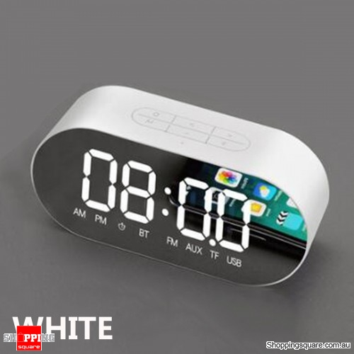 Portable Alarm Clock Wireless Speaker Music Player FM Radio Aux Clock - White