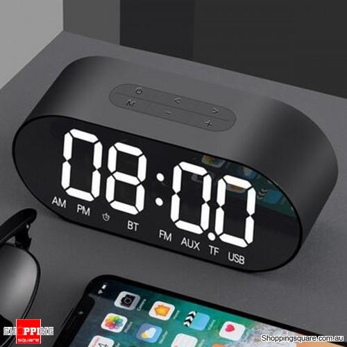 Portable Alarm Clock Wireless Speaker Music Player FM Radio Aux Clock - Black