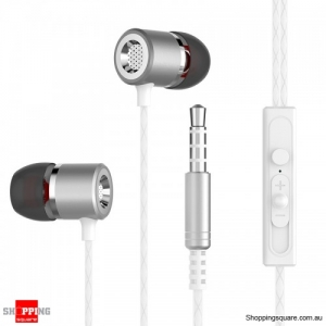 HiFi Metal Heavy Bass 5D Stereo In-ear Wired Control Earphone Headphone with Mic - Silver