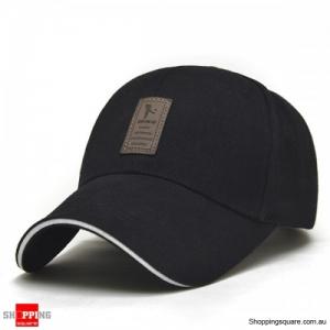 Cotton Blend Baseball Cap Hip-hop Adjustable Hat - Black