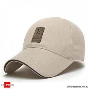 Cotton Blend Baseball Cap Hip-hop Adjustable Hat - Beige