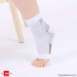 Anti Fatigue Angel Circulation Ankle Swelling Relief Sport Compression Foot Sleeve Socks - White