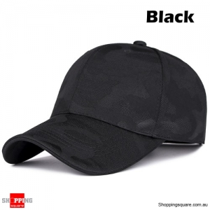 Adjustable Camouflage Baseball Cap Sunshade Outdoor UV Protection Golf Hat - Black