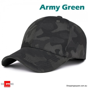 Adjustable Camouflage Baseball Cap Sunshade Outdoor UV Protection Golf Hat - Army Green