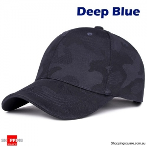 Adjustable Camouflage Baseball Cap Sunshade Outdoor UV Protection Golf Hat - Deep Blue