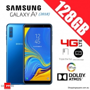 Samsung Galaxy A7 (2018) A750FD 128GB Dual Sim 4G LTE Unlocked Smart Phone Blue