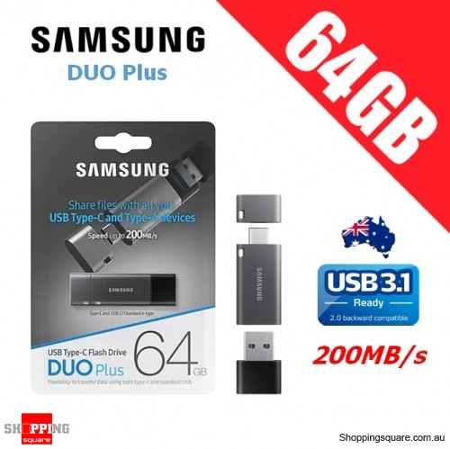 Samsung 64GB DUO Plus USB 3.1 Flash Drive Memory 200MB/s