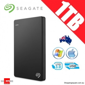 Seagate Backup Plus Slim 1TB 2.5in Portable Hard Disk Drive Black