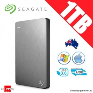 Seagate Backup Plus Slim 1TB 2.5in Portable Hard Disk Drive Silver