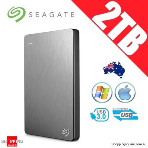 Seagate Backup Plus Slim 2TB 2.5in Portable Hard Disk Drive Silver