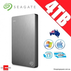 Seagate Backup Plus Slim 4TB 2.5in Portable Hard Disk Drive Silver