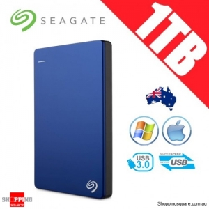 Seagate Backup Plus Slim 1TB 2.5in Portable Hard Disk Drive Blue