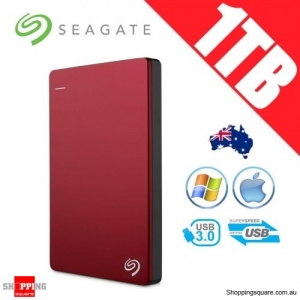 Seagate Backup Plus Slim 1TB 2.5in Portable Hard Disk Drive Red