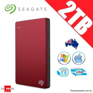 Seagate Backup Plus Slim 2TB 2.5in Portable Hard Disk Drive Red