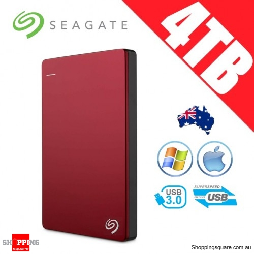Seagate Backup Plus Slim 4TB 2.5in Portable Hard Disk Drive Red