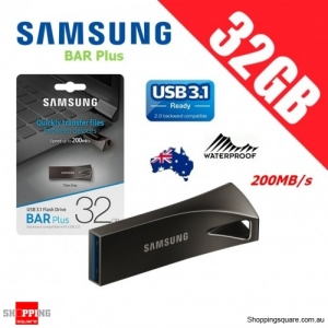 Samsung Bar Plus 32GB USB 3.1 Flash Drive Memory 200MB/s Titan Gray