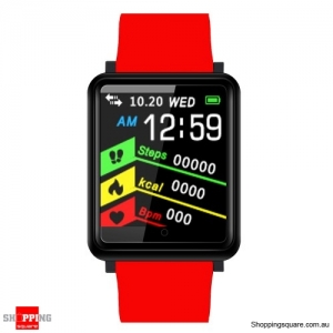 1.44'' TFT Color Touch Screen IP67 Waterproof Smart Watch Fitness Bracelet - Red