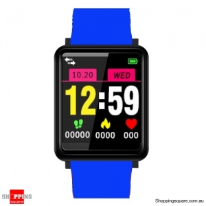 1.44'' TFT Color Touch Screen IP67 Waterproof Smart Watch Fitness Bracelet - Blue