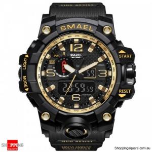 Waterproof Digital Watch Band Dual Display Sport Analog Quartz Watch - Gold